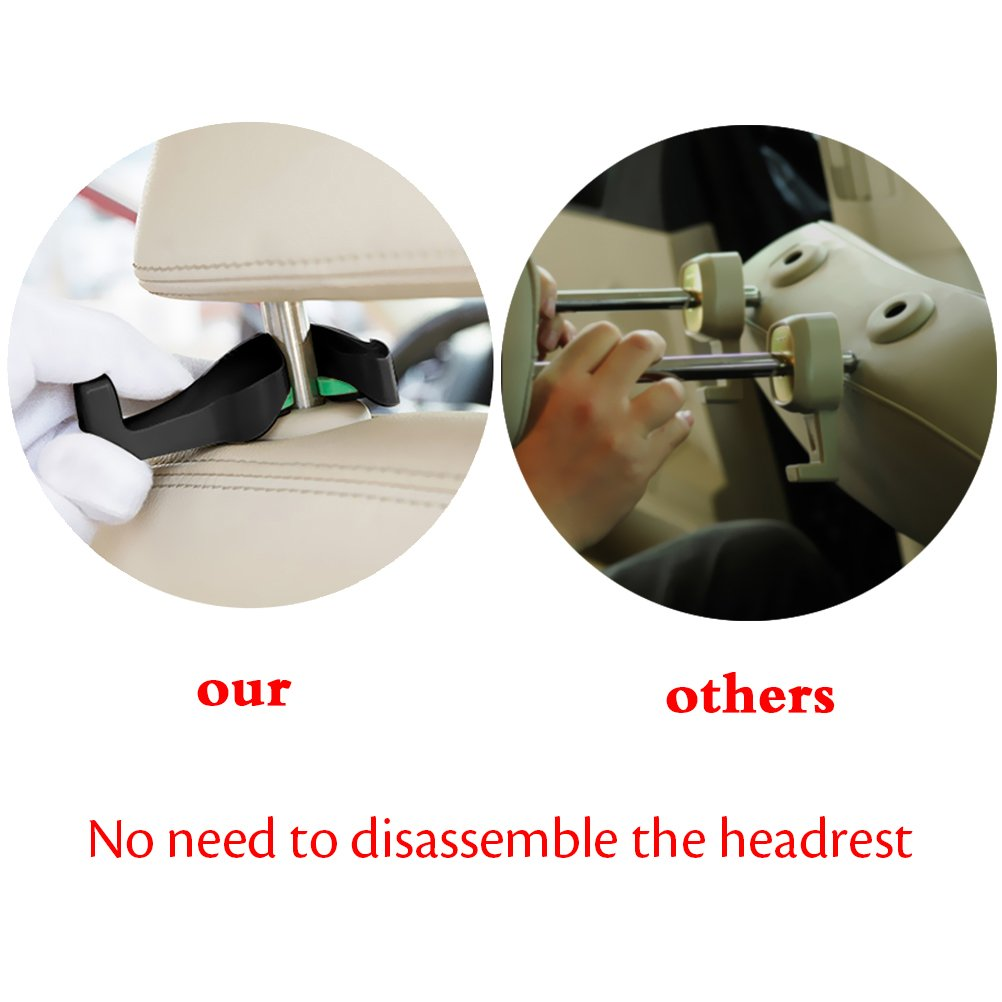 Black 4 Pack Yacoto Headrest Hooks for Car Car Seat Hooks with Bottle Hanger Universal Durable Backpack Handbag Grocery Bags Coats Purse Front Back Seat Organizer Holder Hanger Fit for Vehicle Car