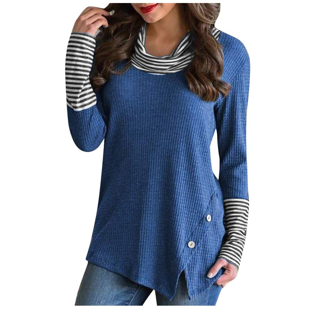 HAALIFE◕‿ New Womens Long Sleeve Loose Button Hoodies Tunic Casual Plaid Patchwork Sweatshirts Pullover