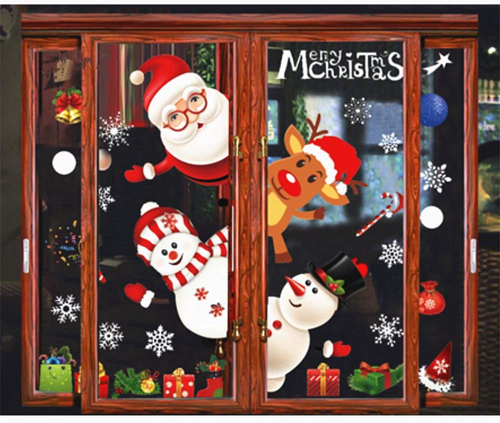 Christmas Window Decals Reindeer Snowflake Static Stickers Santa Claus Gnome