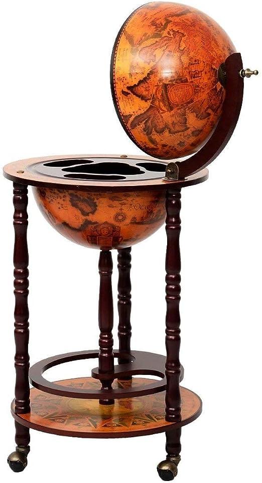 Casart Wood Globe Wine Cabinet 17 Wine Shelf with Wheels 16th Century Italian Wine Bar Stand