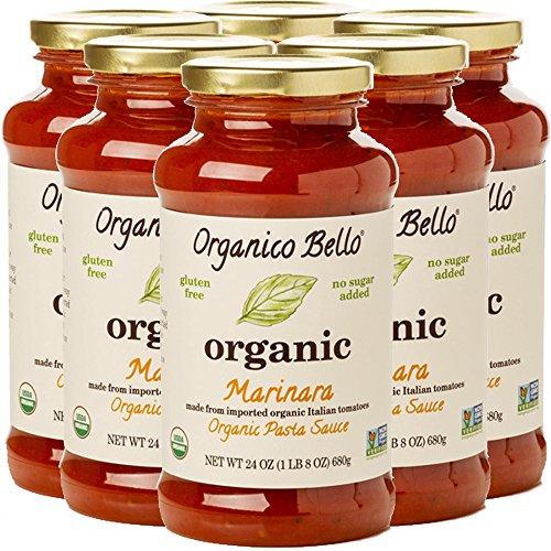 Organico Bello Gourmet Organic Pasta Sauce, Marinara, 6 Count