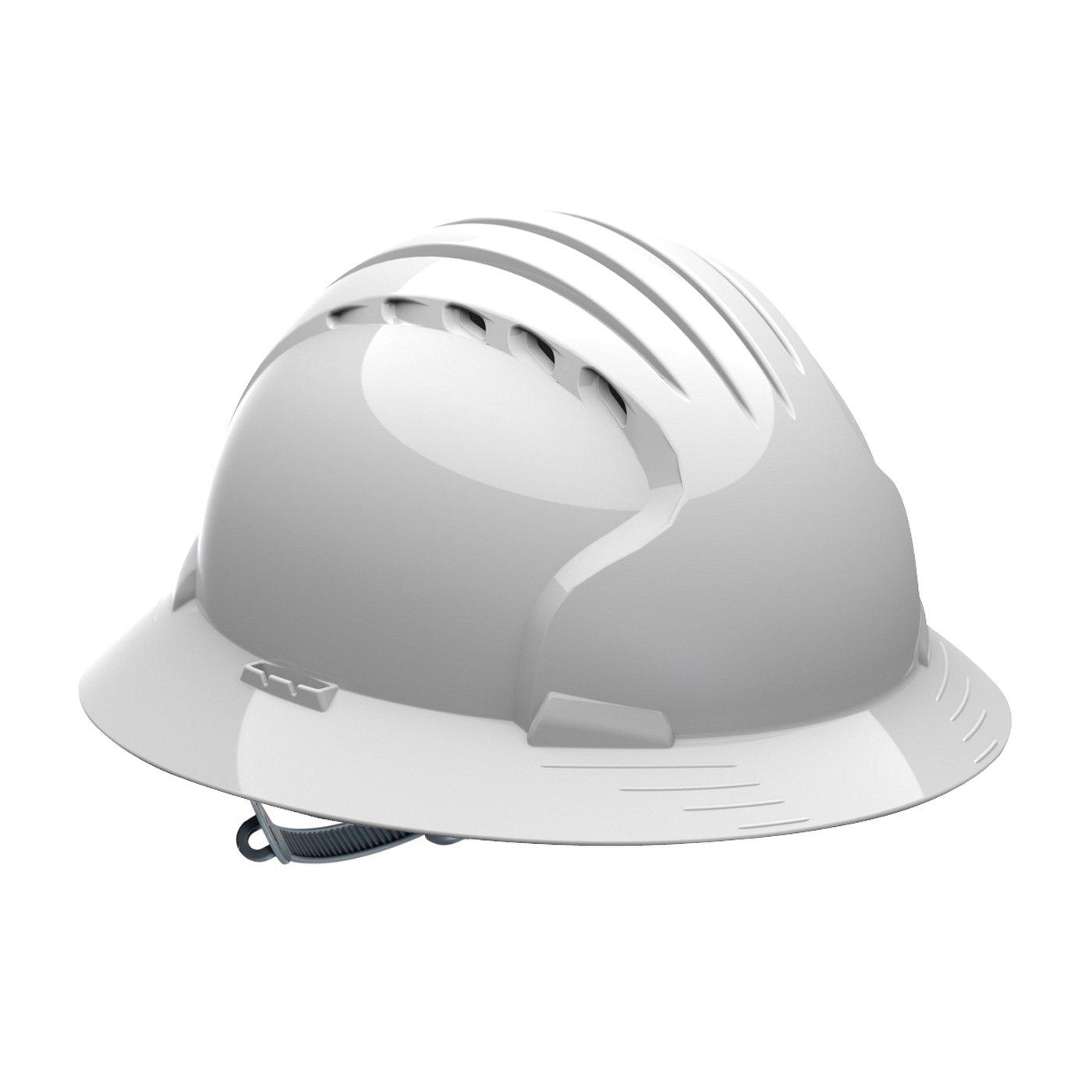 Evolution Deluxe 6141 280-EV6141V-20 Vented, Full Brim Hard Hat with HDPE Shell, 6-Point Polyester Suspension and Slip Ratchet Adjustment