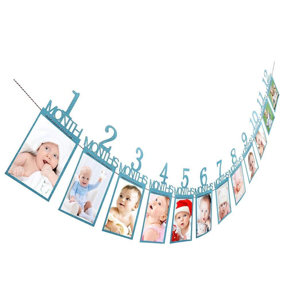 Happy Event regalo di compleanno bambini decorazioni bambini 1 – 12 mesi Foto Banner Foto Raccoglitore mensile Fotografia blu Blau Größe: Über 14X23cm