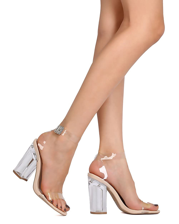 f8bbe50399 Amazon.com   Women PVC Open Toe Lucite Ankle Strap Blockl Heel Sandal GA33  - Clear (Size: 8.0)   Heeled Sandals