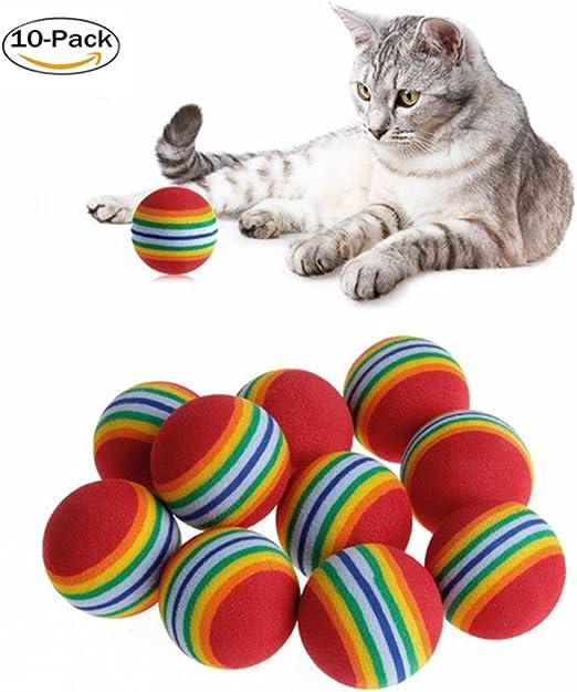10 piezas de juguete para gatos, pelota de colores, interactivo ...