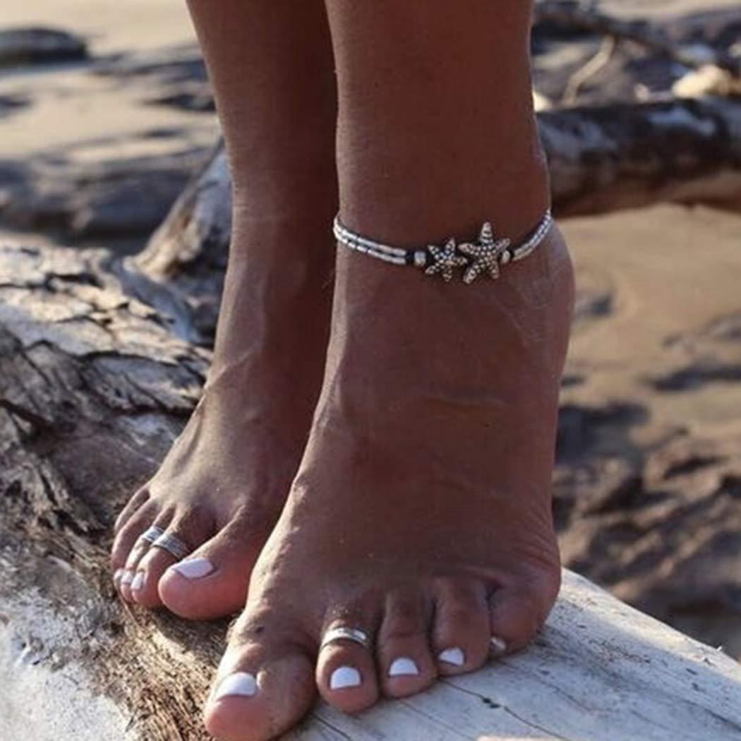 Mayelia Boho-Fu/ßkettchen Silber Seestern Strand Fu/ßkettchen verstellbar Perlen Fu/ßschmuck f/ür Frauen und M/ädchen