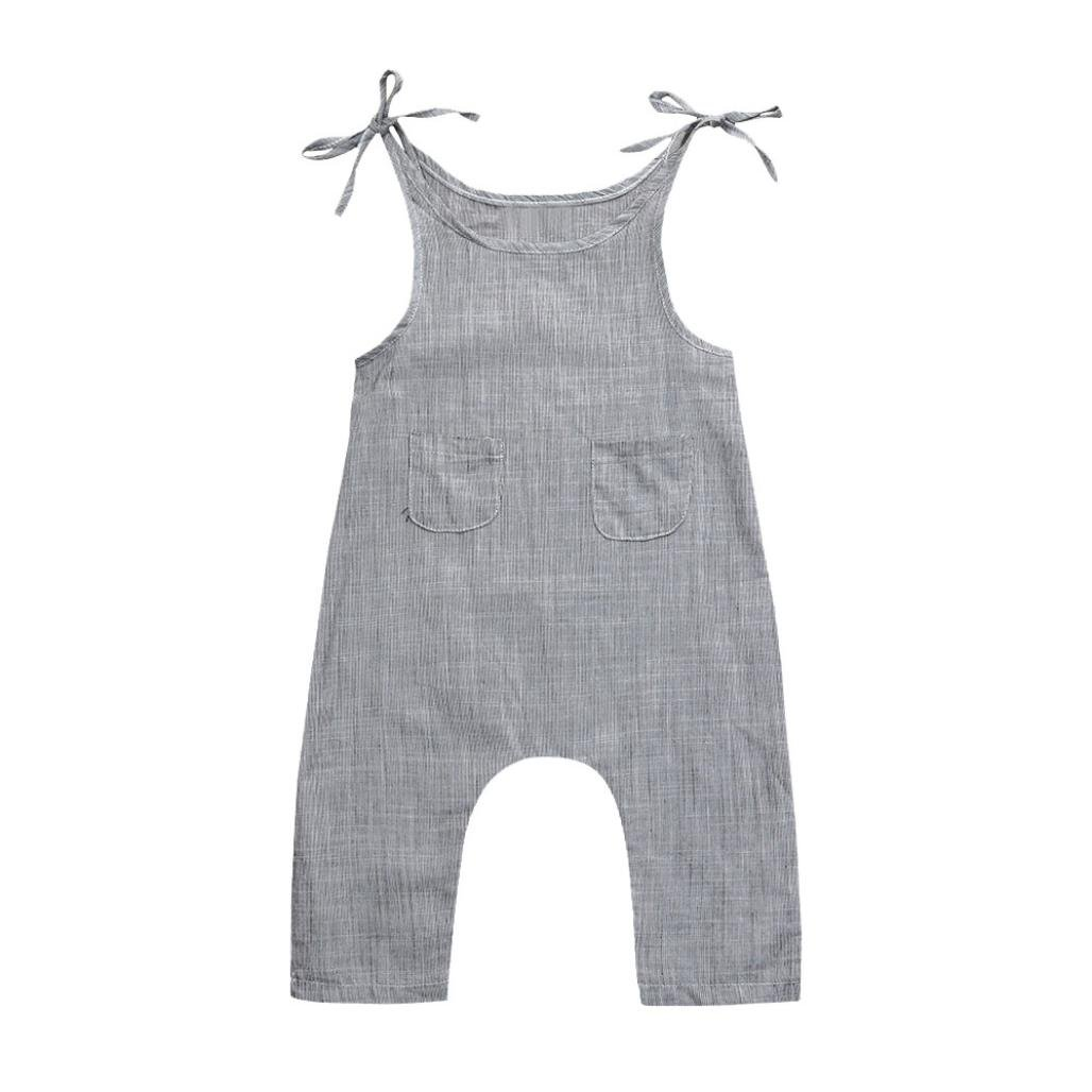 Cyond Rompers Suit for Girls, Toddler Infant Baby Boys Girls Sleeveless Jumpsuit Romper Flax Linen Sleeveless Braces Romper Jumpsuit Bandages Casual Daily Party Mini Bodysuit