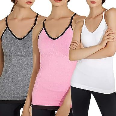 Camisa de tirantes Shujin para mujer, cuello en V, sin costuras, con tirantes acolchados integrados, pack de 1 o 3 3 unidades Tallaúnica: Amazon.es: Ropa y accesorios