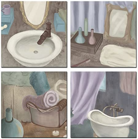 Amazon Com Sechars Bathroom Pictures Wall Decor Vintage Classic Elegant Bath Tub Art Prints Still Life Scenes Painting Giclee Artwork Stretched Framed Ready To Hang 12 X12 X4pcs Posters Prints