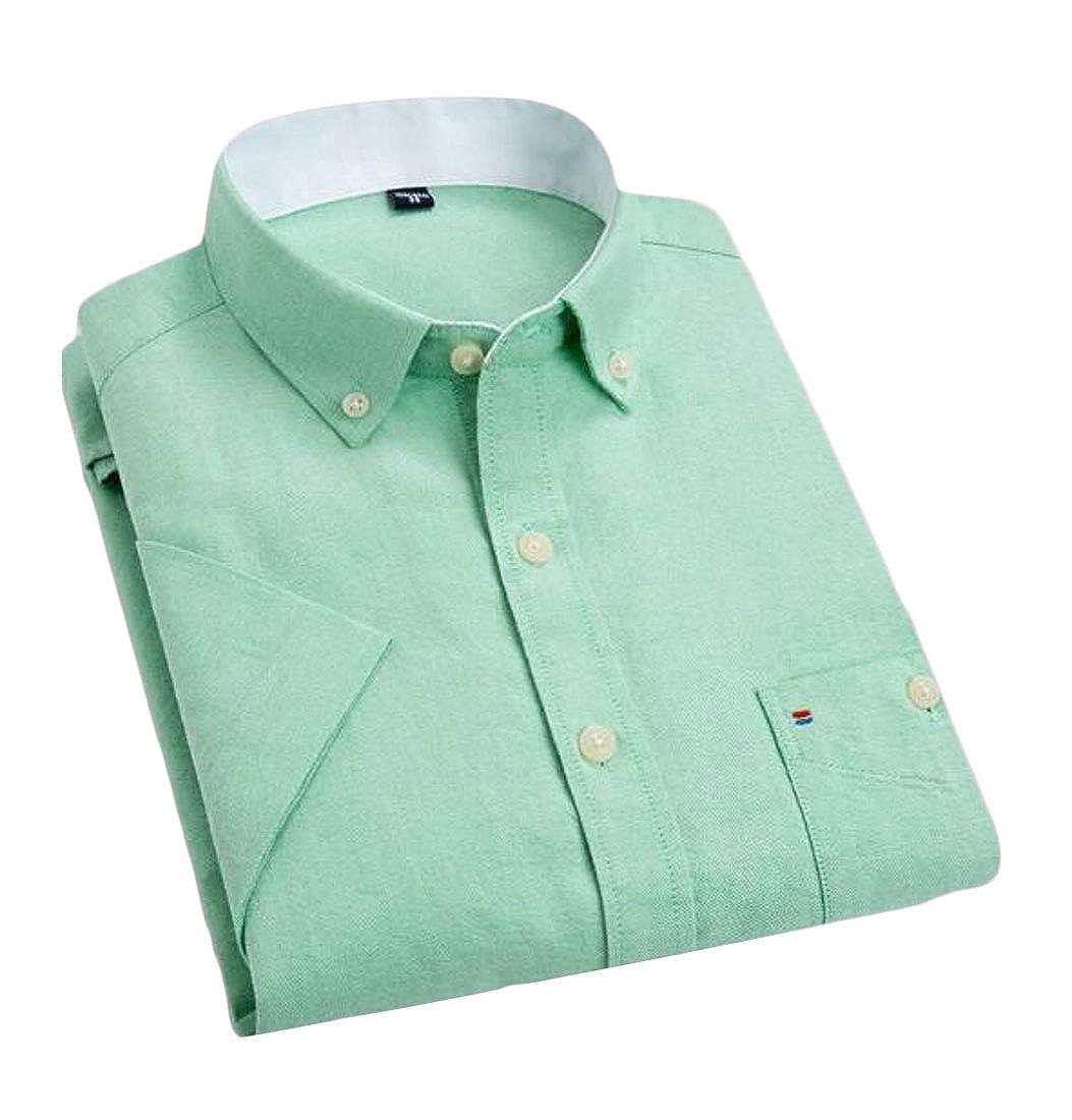 Nanquan Men Casual Oxford Short Sleeve Shirt Slim Cotton Shirts