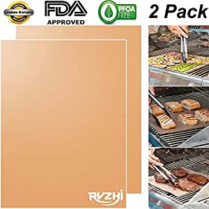 RVZHI Copper Grill Mat Set of 2 - Non-stick BBQ Grill & Baking Mats - FDA Approved, PFOA Free, Reusable and Easy to Clean - Works on Gas, Charcoal, Electric Grills - 15.75 x 13 inches