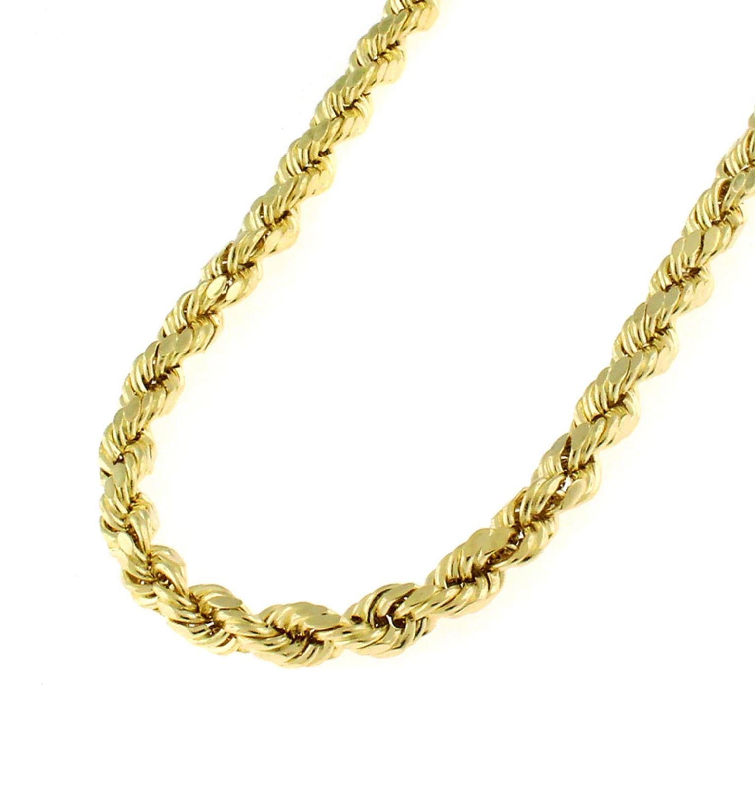 14K Solid Yellow Gold 1.5mm, 2mm, or 3.2mm Diamond Cut Rope Chain Necklace Unisex Sizes 16''-30'' -Solid Gold Heavyweight (30, 3.2mm)