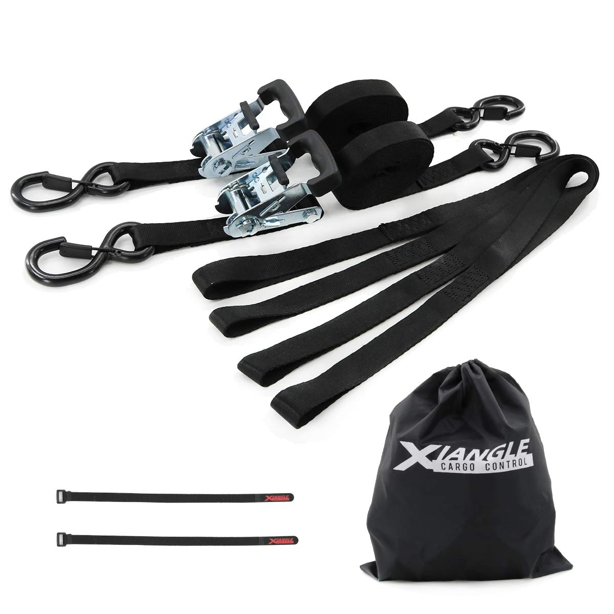 XIANGLE Ratchet Tie Down Lashing Straps with Magic Tape(2pk)&Soft Loop(4pcs),Break Strength 3300lbs,1 inch with Rubber Handle&Hooks with Keeper for Securing Motorcycle and Dirt Bike (1, 16ft)