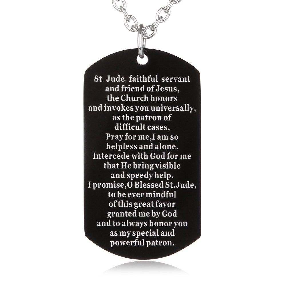 Fayerxl St Jude Prayer Dog Tag Necklace Stainless Religious Military Pendant Catholic Jewelry Christmas Birthday Gift