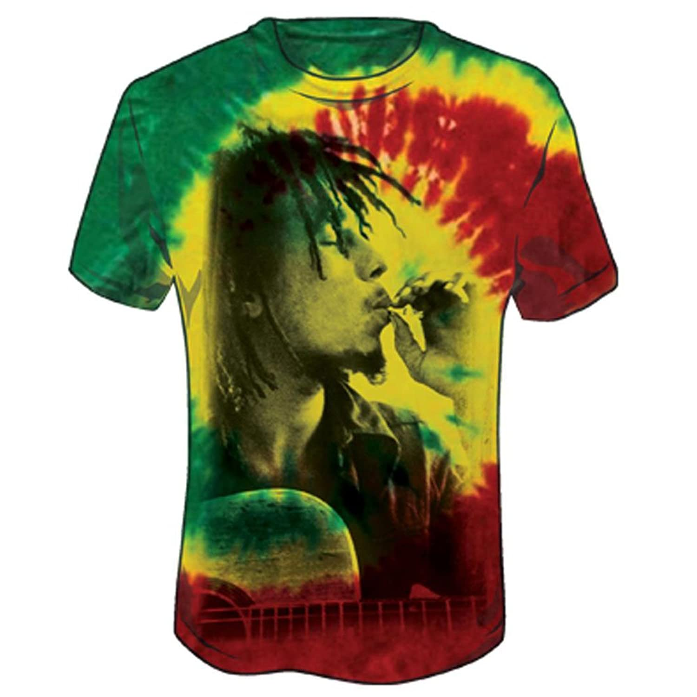 Amazon.com: Bob Marley Men's Rasta Smoke Tie Dye T-shirt Tie-Dye ...