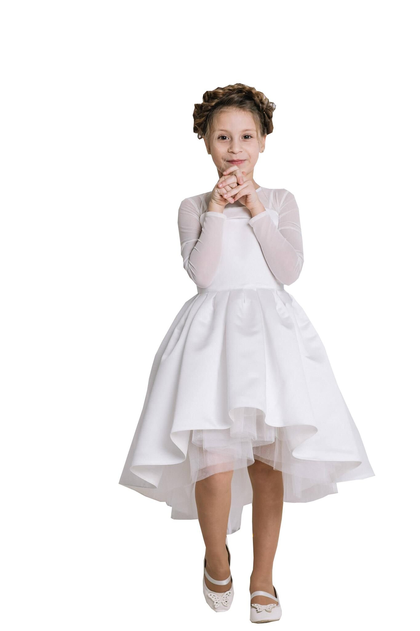 Banfvting Mid Length Hi-Lo Flower Girl Dress Birthday Gown Kids