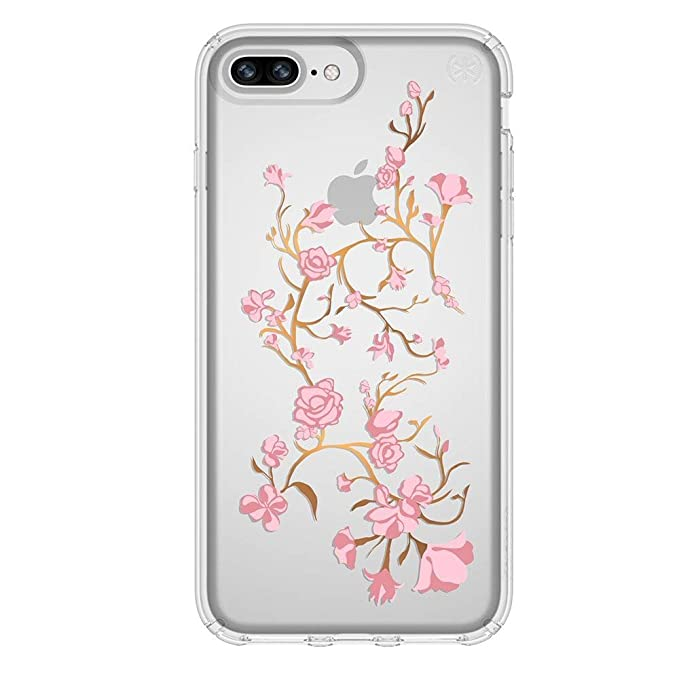 timeless design 02ebd da3b0 Speck iPhone 8 Plus Presidio Clear + Print Case, IMPACTIUM 8-Foot Drop  Protected iPhone Case that Resists UV Yellowing, Golden Blossoms Pink/Clear