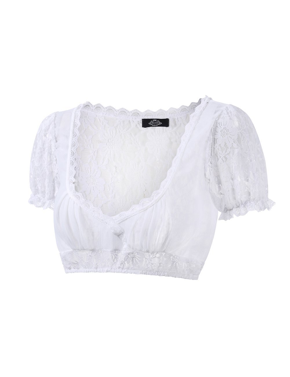Leoie Women's Beer Festival Sexy See-Through Dirndl Solid Lace Chiffon Splicing Stylish Dirndl Top by Leoie (Image #3)