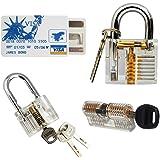 YuliTech Practice Lock Set, Transparent Cutaway Crystal Pin Tumbler Keyed Padlock, Lock Picking Practice Tools for Locksmith, Include 3 Common Types of Lock for Lock Pick Set