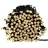 FOUR CLOVER Fairy Decorative Christmas Solar String Lights, 72ft 200 LED Lights for Indoor and Outdoor, Home, Lawn, Garden, Party and Xmas Tree Decorations (200 LED / 65ft, Warm White)