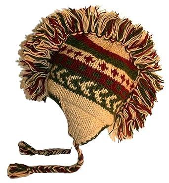 Amazon 940 H Knitted 100 Wool Mohawk Hat One Size 940 Beige