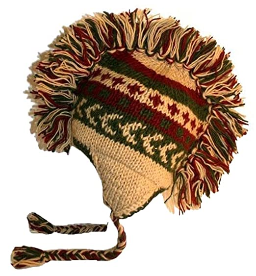 Amazon.com  Agan Traders 940 H Knitted 100% Wool Mohawk Hat One Size ... 6fffaed8f23