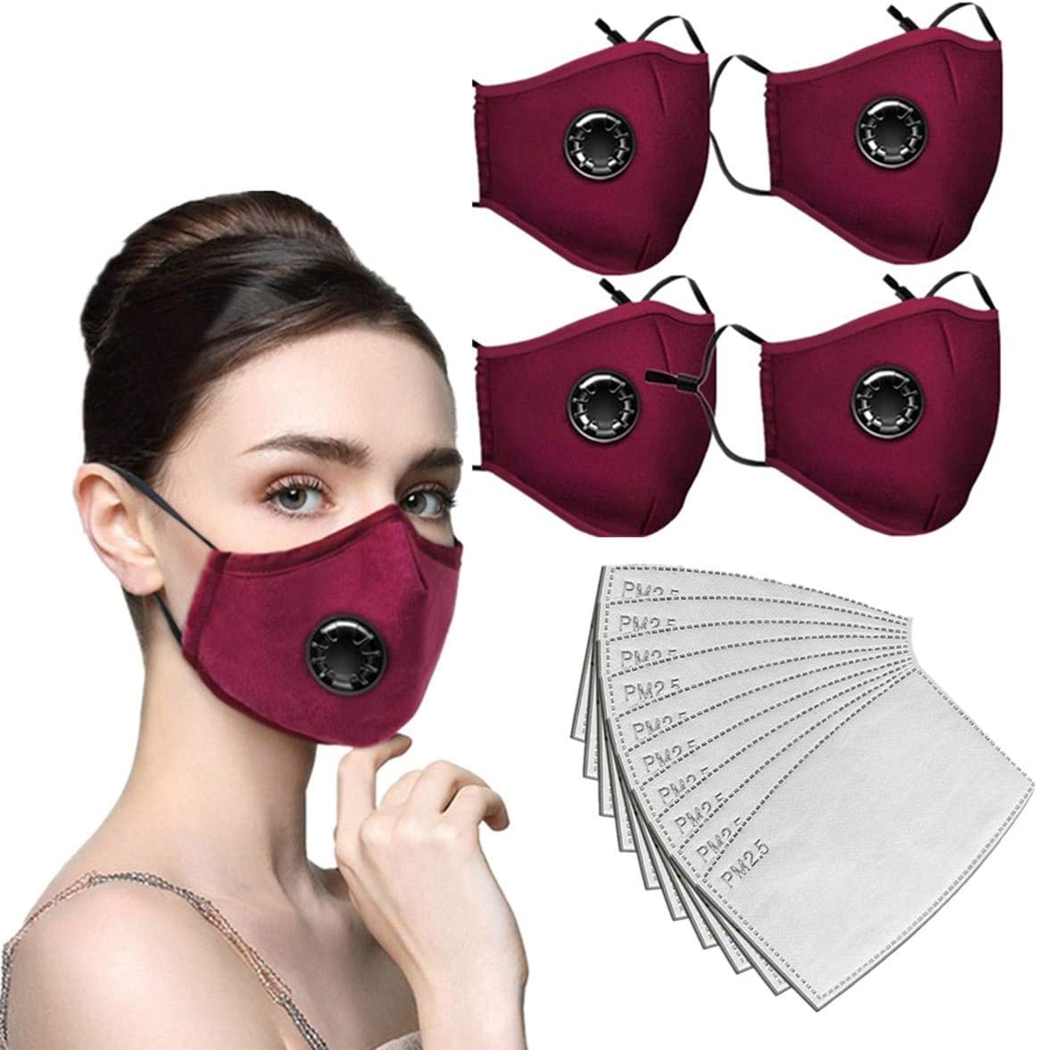 4PC Face Bandanas Cotton with Breathing valve With 8pcs Activated Carbon Filter Replaceable Filters Haze Dust Face Health for Kids 4PC+8 Red