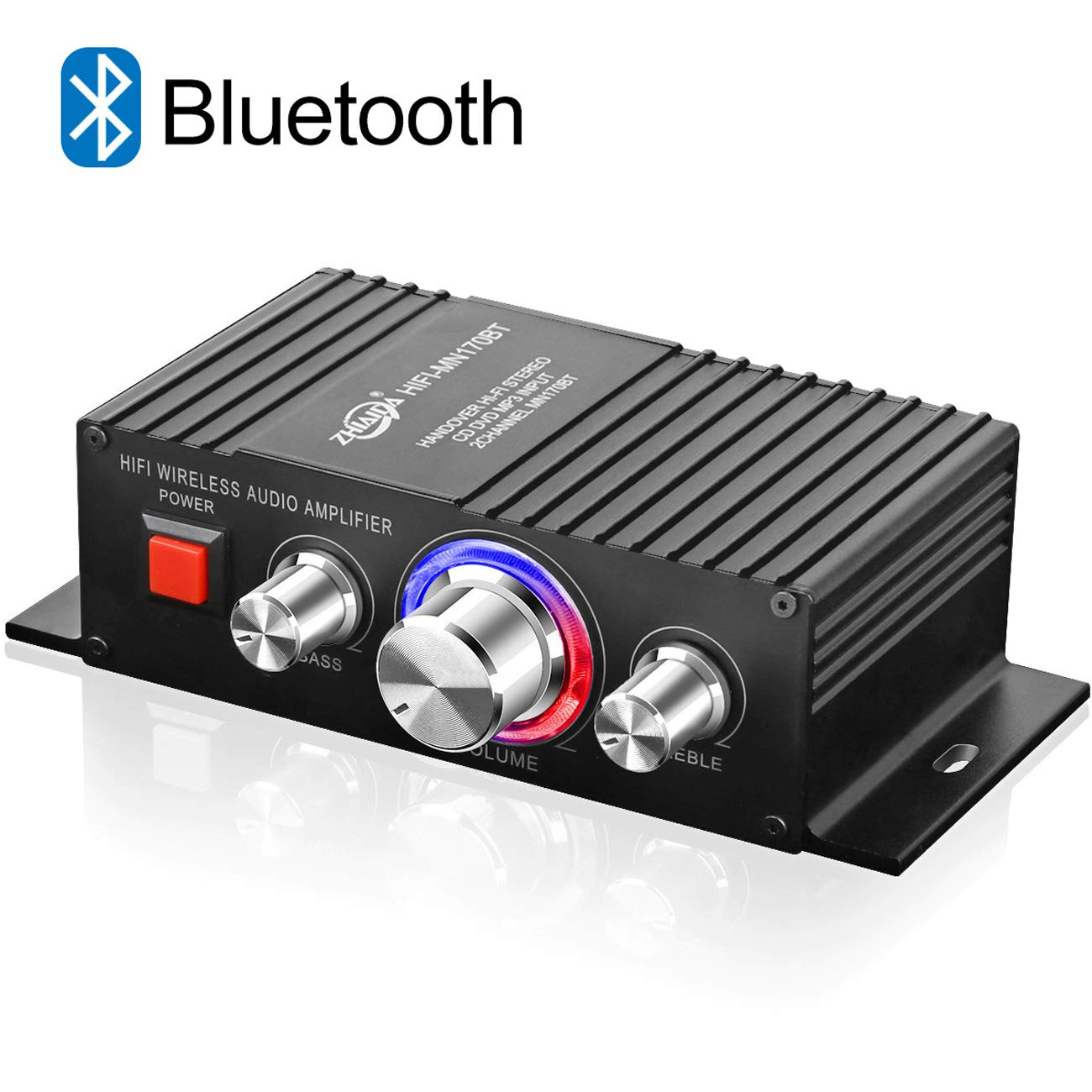 DUTISON HiFi Audio Mini Amplifier - Bluetooth 4.2 Digital 2 Channel 60W Home Stereo Power Amplifiers with Blue LED Indicator Black - Power Adapter Not Included