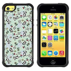 Paccase / Suave TPU GEL Caso Carcasa de Protección Funda para - Funny Cute Cow Cherries Pattern - Apple Iphone 5C