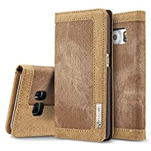 Galaxy S7 Case, BELK [Ballistic] High Quality Canvas Wear Proof Robust Fabric Flip Wallet Case w 3 ID Card/Cash Slot for Samsung Galaxy S7 - 5.1 inch, Strong Red Sack Bag