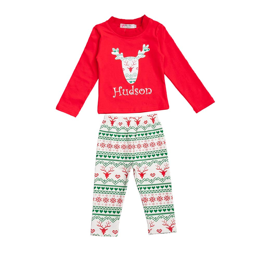 Fosheng Toddler Pajamas Kid Homewear Top Pants Baby Christmas Sleepwear Cotton