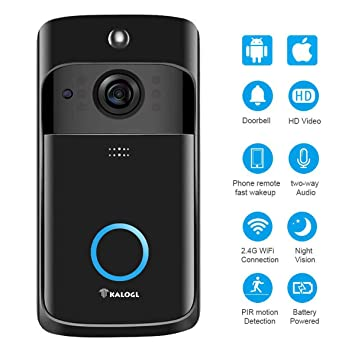 6db466b13000c Video Doorbell [2019 Upgrade] Wireless Doorbell Camera IP5 Waterproof HD  WiFi Security Camera Real-Time Video for iOS&Android Phone, Night Light