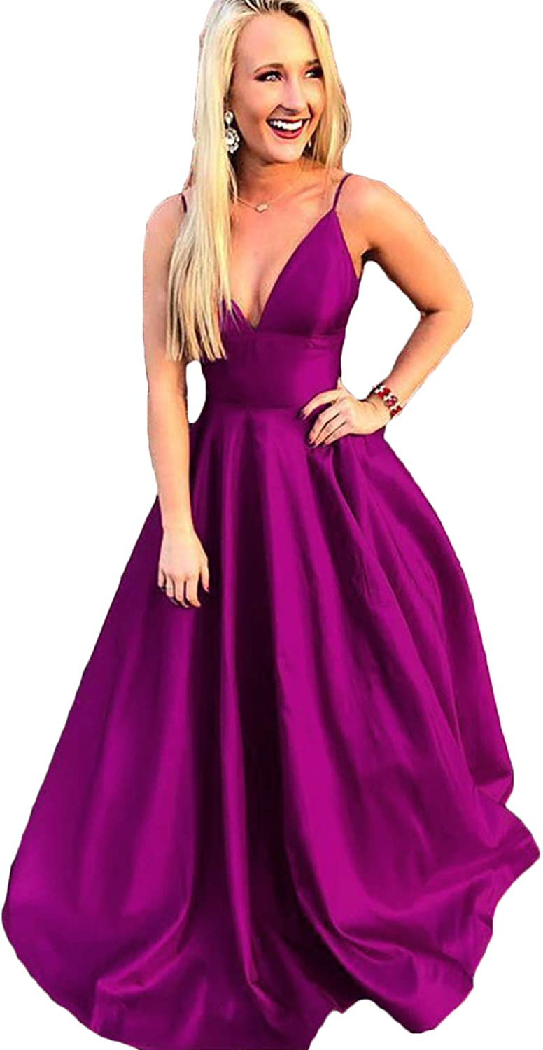 Fuchsia Rmaytiked Womens Spaghetti Strap V Neck Prom Dresses Long 2019 Satin A Line Formal Evening Ball Gowns with Pockets