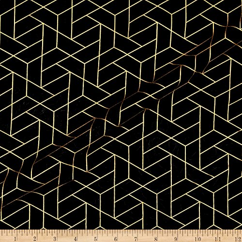 Black And Gold Fabric (CAMELOT Fabrics Mixology Luxe Tiled Fabric by The Yard, Black/Gold)