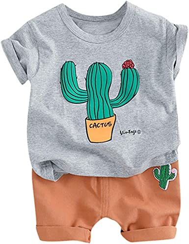 Kehen Infant Baby Toddler Boys Cotton Clothing Sets Short Sleeve Tee and Shorts
