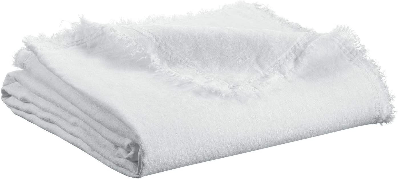 Vivaraise ~ Plaid Nomade Zeff in Lino//Cotone Tinta Unita Bianco 130x180