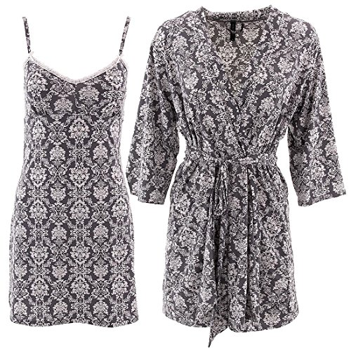 Laura Ashley Gray Damask Chemise Robe Set for Women