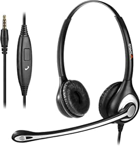Cell Phone Headset with Microphone Noise Cancelling & Call Controls, 3.5mm Computer Headphones for iPhone Samsung PC Business Skype Softphone Call Center Office, Clear Chat, Ultra Comfort