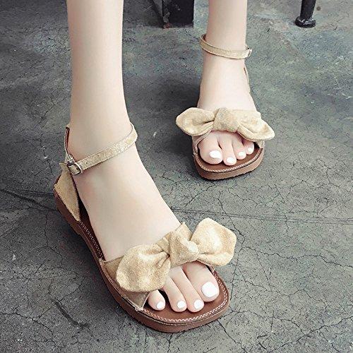 RUGAI-UE Rocío Butterfly Toe sandalias de verano para estudiantes mujeres hebilla zapatos de ocio Beige