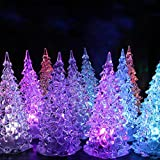 Christmas Tree LED - Set of 6 Acylic Xmas Trees with Painted Colorful Ornaments - Coloring Changing Light Lamp Home Party Decoration Wedding (A)