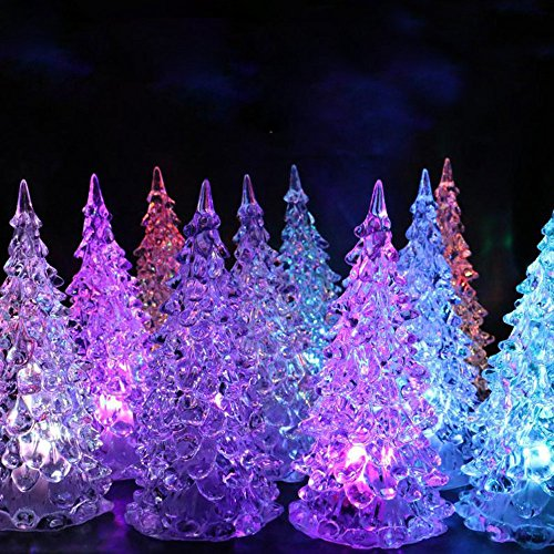 Christmas Tree LED - Acylic Xmas Trees with Painted Colorful Ornaments - Coloring Changing Light Lamp Home Party Decoration Wedding (A) by Ghazzi (Image #1)