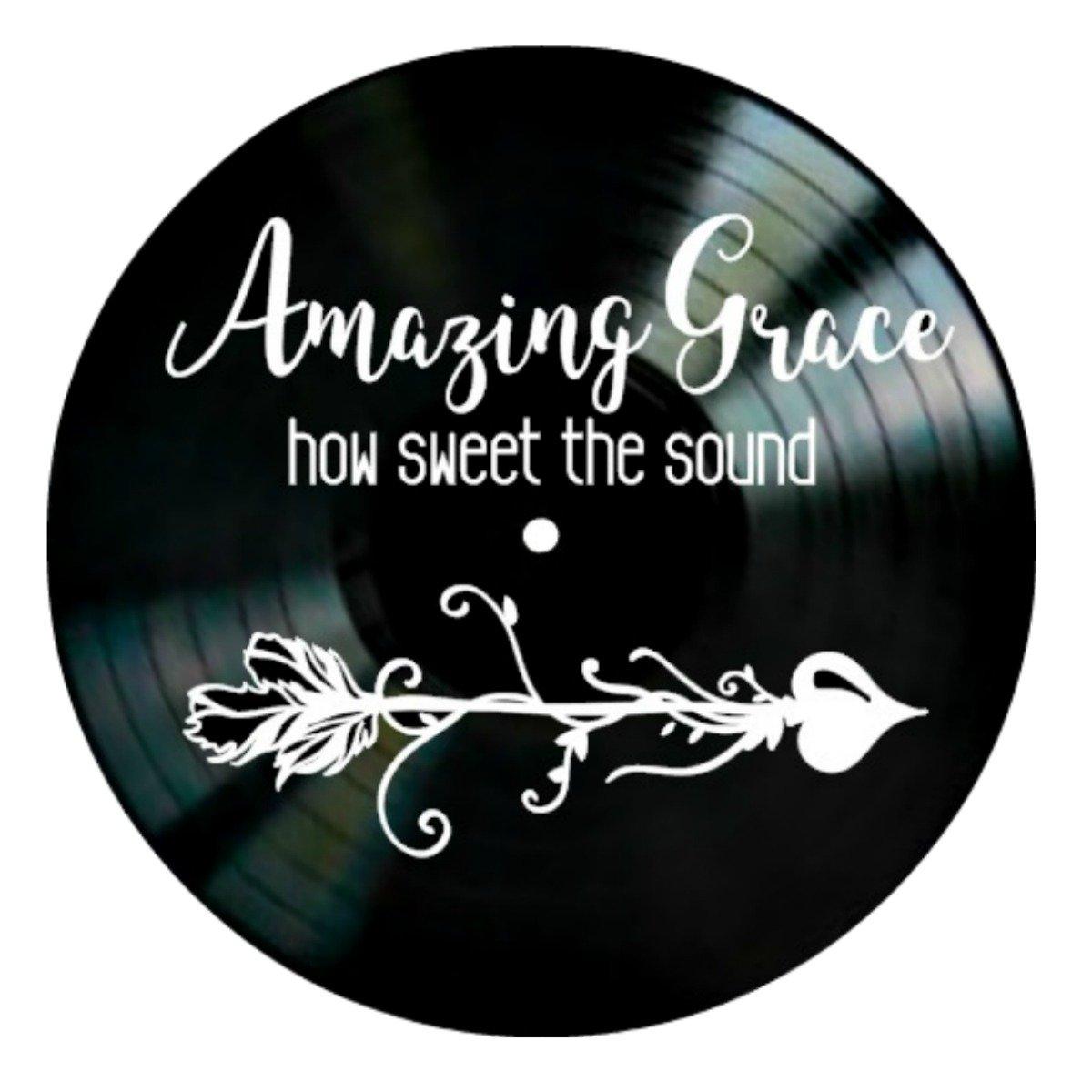 Amazing Grace Christian song lyrics on a Vinyl Record Wall Decor