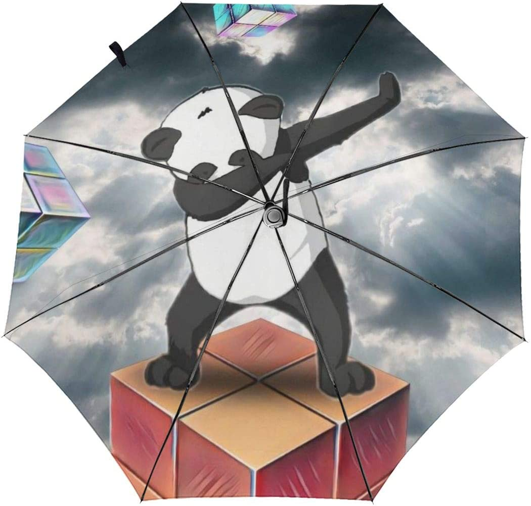 Cartoon Dabbing Panda Diamonds Windproof Automatic Tri-Fold Foldable Umbrella Cartoon UV Protection Travel Unbreakable Compact Portable Sun Rain Umbrella