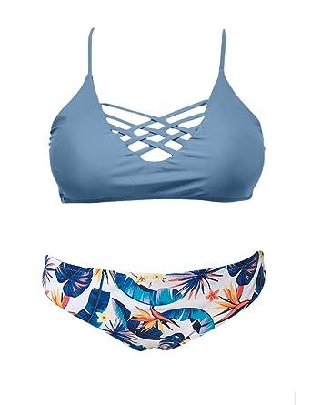 a804103849 SHEKINI Women's Floral Print Swim Bottom Cutout Spaghetti Strap Halter Top  Two Piece Strappy Bikini Swimsuit