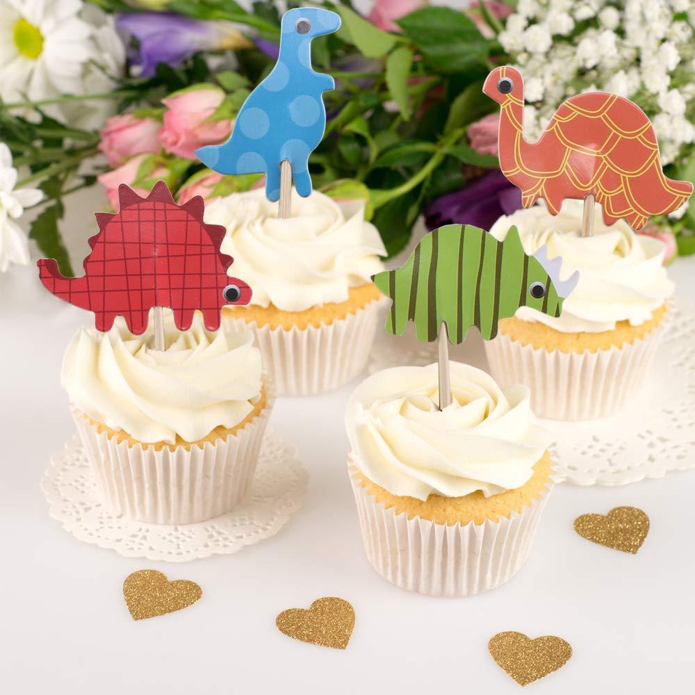 Ho2nel Cupcake Toppers Muffins Deko 72 Pcs Deko Picker Dinosaurier