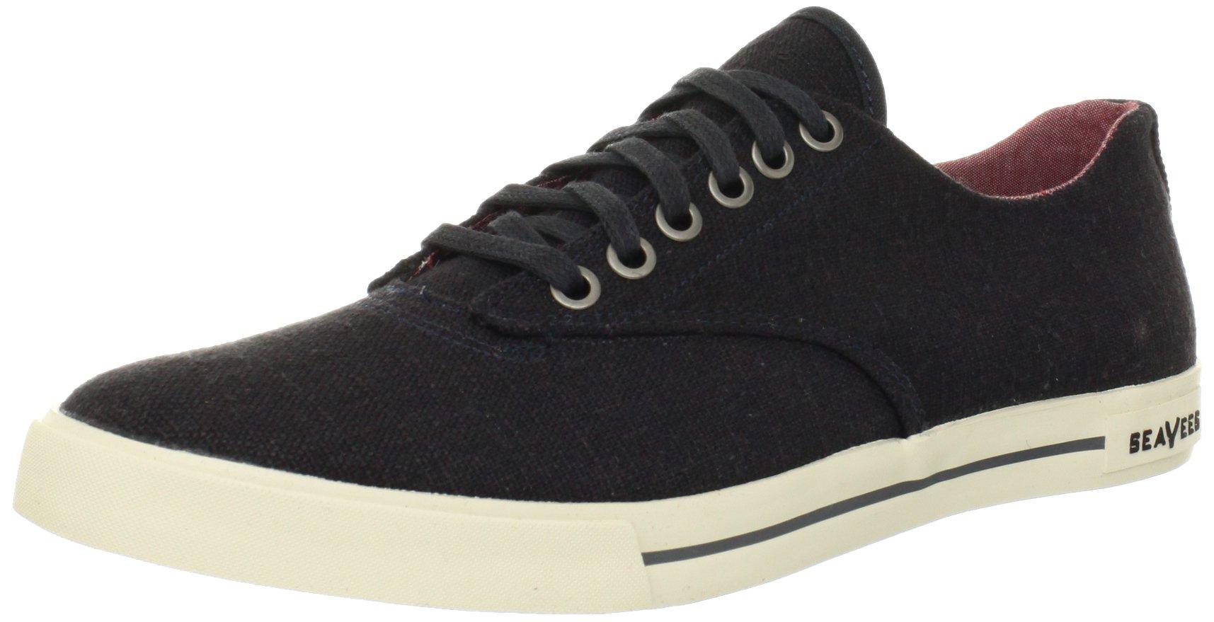 SeaVees Men's 08/63 Hermosa Plimsoll Core Tennis Shoe,Slate Navy Vintage Wash Linen,11.5 M US