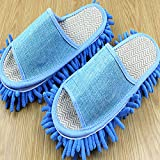 Generic Slipper Genie Microfiber Pair House Floor Polishing Dusting Cleaning Foot Socks Shoes Mop Slippers Purple (Blue)