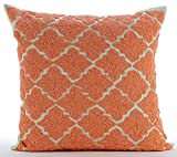 "Designer Orange Pillow Shams, Lattice Trellis Beaded Moroccon Theme Pillow Shams, 24""x24"" Pillow Shams, Square Cotton Linen Shams, Art Deco Pillow Shams - Orange Medallion"