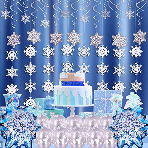 (Onshine 30 Snowflake Spiral Hanging Swirls, 10 Silver Pearl Latex Balloons, 2 Aluminum Foil Snowflake Balloons, 6 White Snowflake Garland Flags for Girls Women Christmas Frozen Princess Birthday Party Snowflake Decorations)