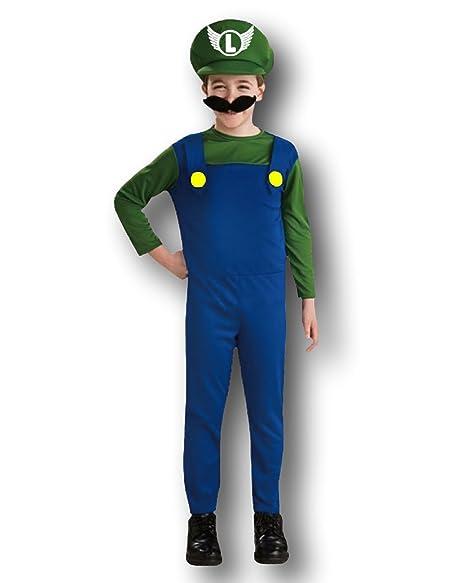 Rubber Johnnies - Disfraz de Luigi para niño, color azul y ...